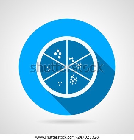 Round blue flat vector icon with white silhouette Petry dish with bacterial strains for some biological or medical laboratory on gray background. Long shadow design. - stock vector