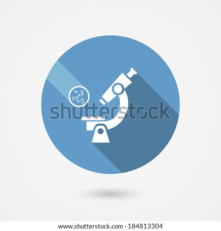 Round blue vector biochemistry and microbiology icon depicting a laboratory microscope for examining and magnifying microbes and bacteria in medicine  science and industry - stock vector