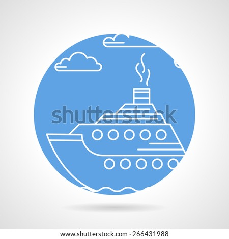 Round blue vector icon with white line passenger steam liner on gray background. - stock vector