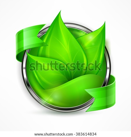 Round border label with green leaves and ribbon, vector illustration - stock vector