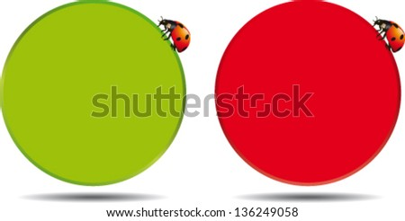 Round box in two colors with ladybug - stock vector