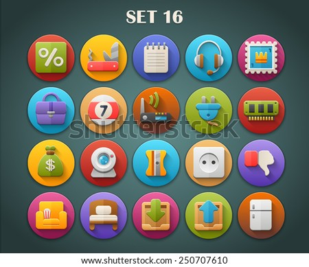 Round Bright Icons with Long Shadow Set 16 - stock vector