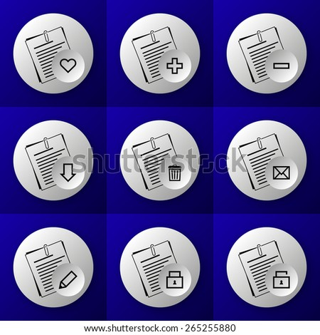 round business document icon set buttons - like, plus, minus, download, delete, sent, write, lock and unlock - on blue background - stock vector