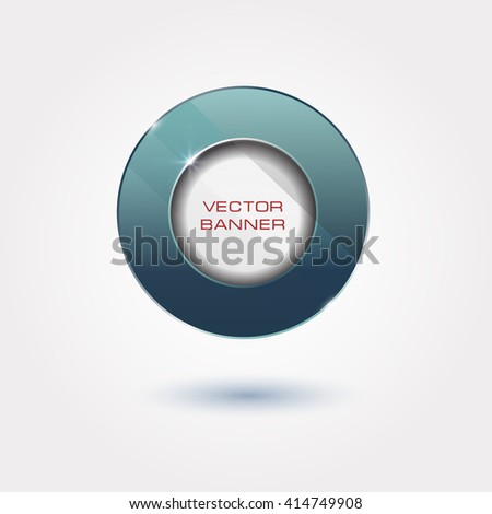round button design with a glass surface. shiny banner with metallic elements. blue frame