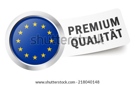 round button with flag premium quality (in German) - stock vector