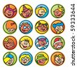 round buttons with faces of children - stock vector