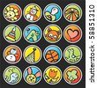 round buttons with pictures in a children's style - stock vector