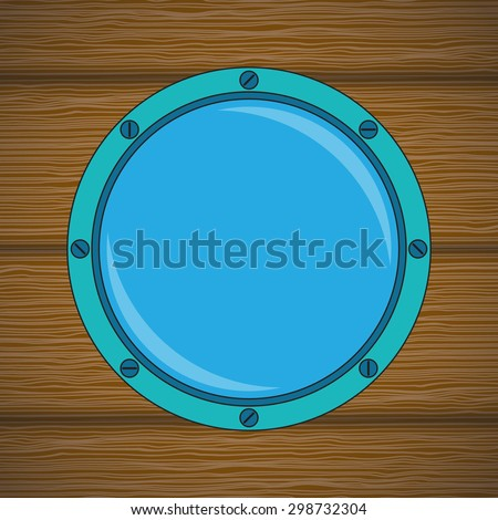 Round cabin window on the wood wall. Vector illustration.