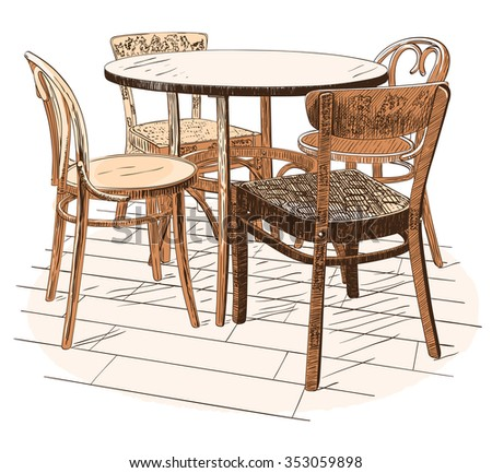 Round cafeteria table with four chairs isolated on white - stock vector