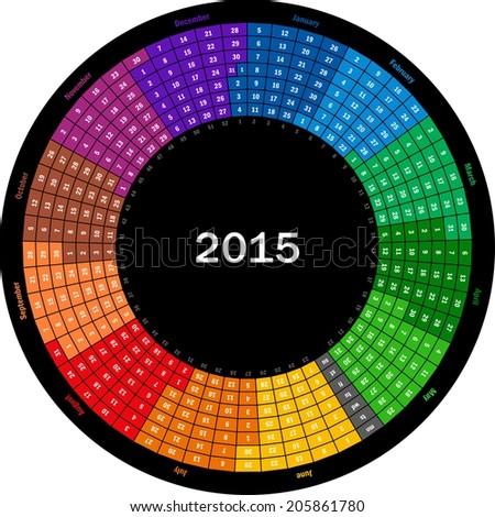 Round calendar 2015 - stock vector