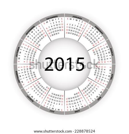 Round calendar for 2015 year. Vector EPS10. - stock vector