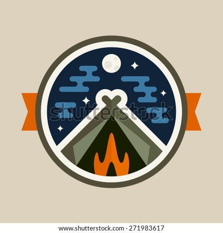 Round camping tent badge icon with night sky