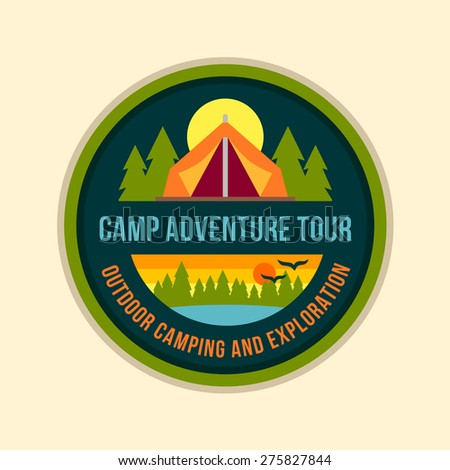 Round camping tent badge logo graphic with text - stock vector