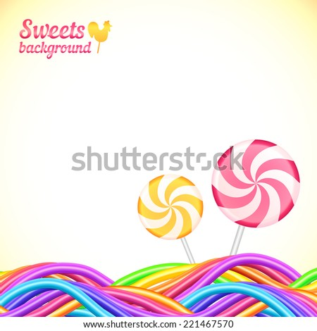 Round candy rainbow colors sweets vector background - stock vector
