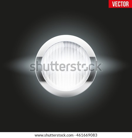 Round car headlight is on. Vintage Vector Illustration isolated on background.