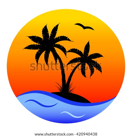 round cartoon card: tropical  beach with palms, orange sunset and blue sea background, vector illustration