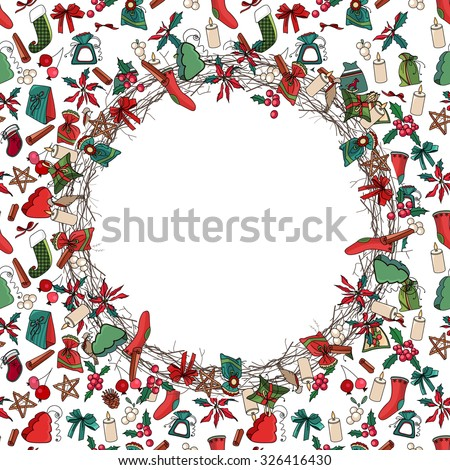 Round Christmas wreath with decoration. Traditional elements. For Christmas design, announcements, postcards, posters. - stock vector