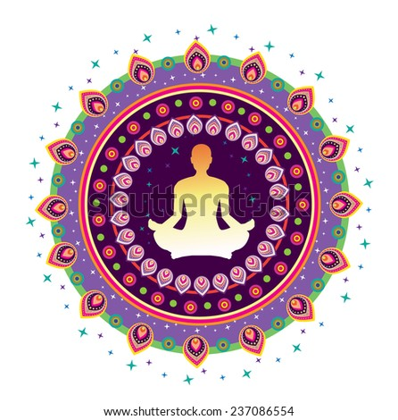 Round circle icon for yoga lotus sitting posture illustration style (vector) - stock vector