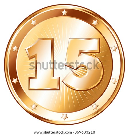 Round / circle shaped metal badge / seal of approval in bronze look and the number fifteen. A 15 year jubilee celebration icon, 15th anniversary badge.