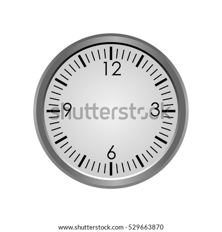 Round clock face with no hands isolated on white background - vector illustration