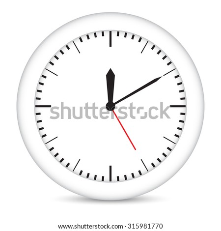 Round clock with white frame on isolated white background. Vector illustration