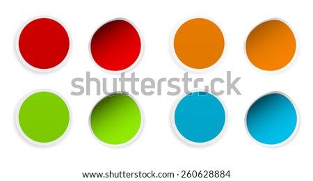 round colored curled stickers set design - stock vector