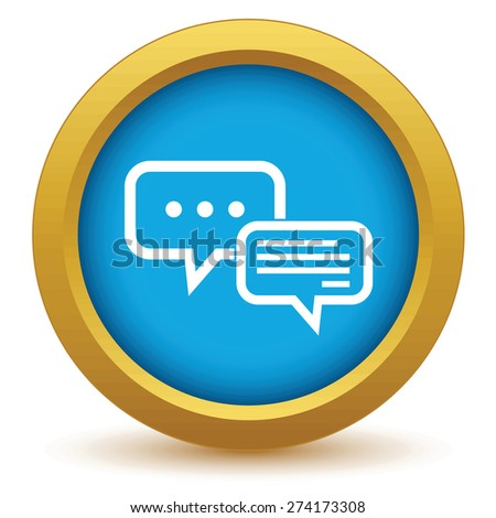 Round colored icon with image of two message clouds. One cloud shows the process of typing a message - stock vector