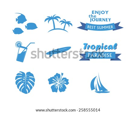 Round Colored Tropical Icons in flat style - stock vector