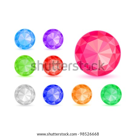 Round Colorful Diamond Stone Icon Set Isolated on White Background. Vector Illustration EPS8 - stock vector