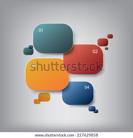 Round colorful infographic elements with various icons suitable for infographics, web layout, presentations, etc. Eps10 vector illustration for promotional purposes or advertising. - stock vector