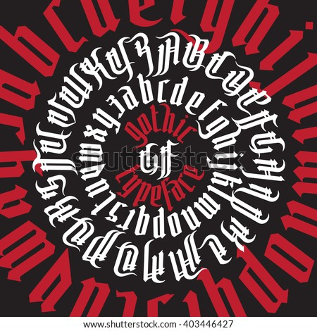 Round composition of gothic typeface with decoration elements. White and red gothic alphabet on black background.
