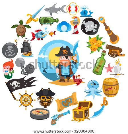 Round composition pirate theme, pirate history, adventure