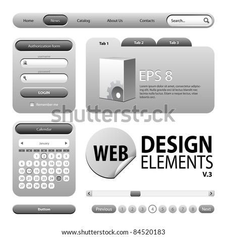Round Corner Web Design Graphite Gray Elements: Buttons, Form, Slider, Scroll, Icons, Tab, Menu, Navigation Bar, Login, Calendar, Accordion, Template  Version 3 - stock vector