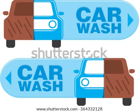 round corners emblem of car wash service with half dirty and half clean cars and direction sign for easy to finding location. vector illustration - stock vector