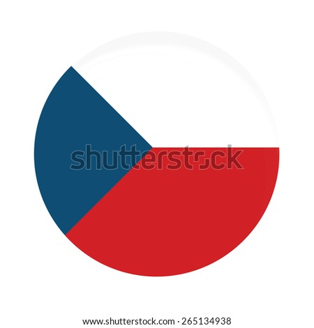 Round czech flag vector icon isolated, czech flag button - stock vector