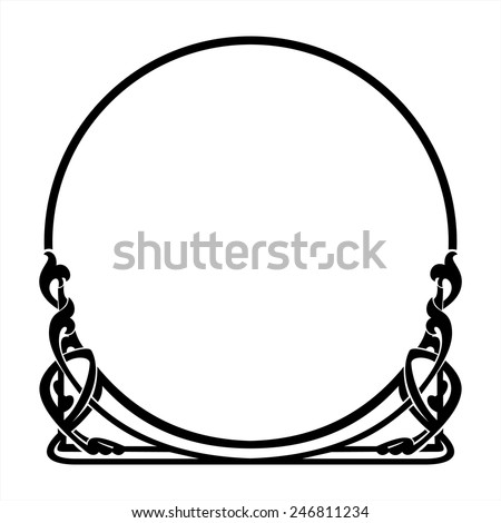 round decorative frame in the art Nouveau style - stock vector
