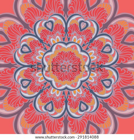 Round decorative patterned red mandala. Abstract geometric ethnic pattern. Geometric ethnic round ornament. Illustration for greeting cards, invitations, and other printing projects. - stock vector