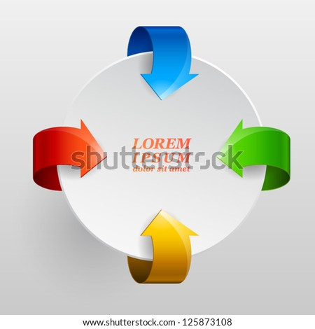 Round design element for sample text with four colored arrows on a white background. Vector illustration. EPS 10 - stock vector