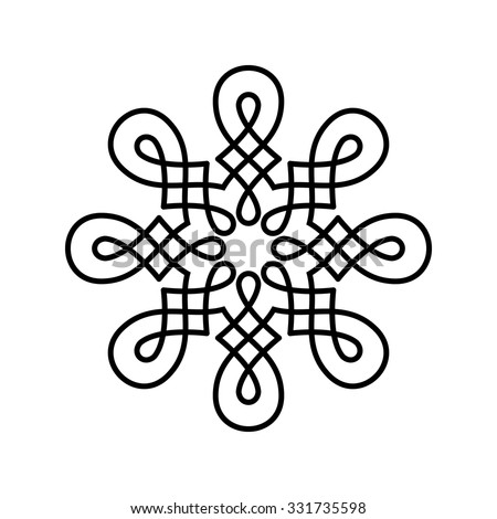 Round design element isolated on white background. Circle pattern in black color. Vector illustration. Could be used for logo, tattoo, monogram, web-design, decoration, etc. - stock vector