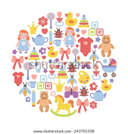 round design element with colorful baby icons - stock vector