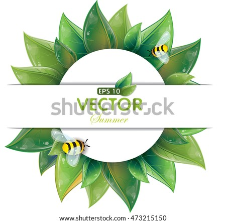 Round design of green leaves with flying bees isolated on white, vector illustration, eps-10