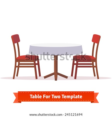 Round dinner table for two with white cloth and red wooden chairs. Flat style illustration. EPS 10 vector. - stock vector