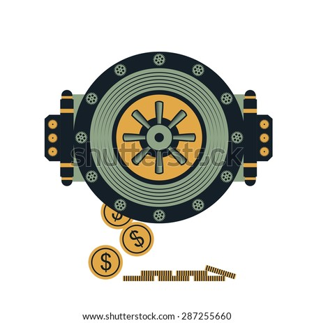 Round door of a large bank vault on a conditional bank building business concept - stock vector