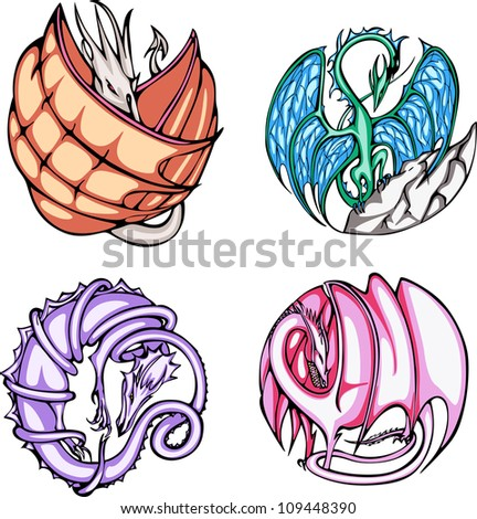 Round dragon designs. Set of color vector illustrations.