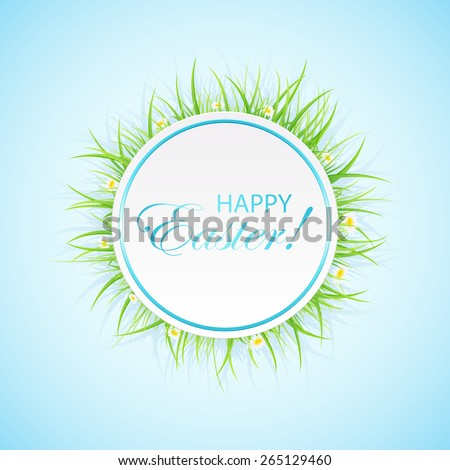Round Easter card with grass on blue background, illustration. - stock vector