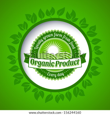 Round eco green stamp label of healthy organic natural farm fresh food