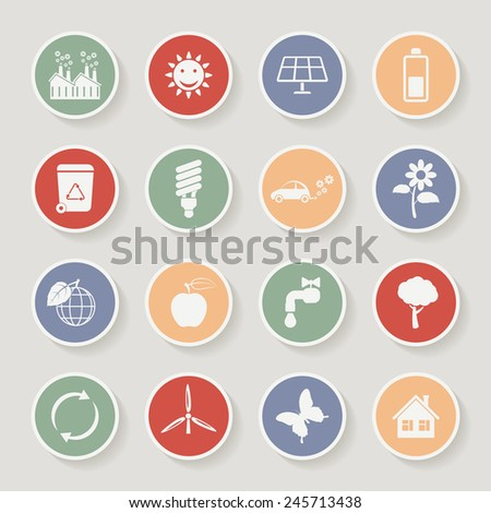 Round ecology icon set. Vector illustration - stock vector