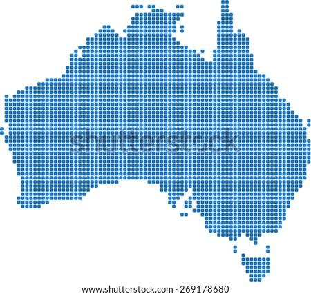 Round edge blue square Australia map. Vector illustration. - stock vector
