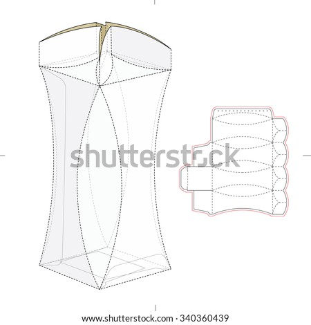 Round edge box die cut template stock vector 340360439 shutterstock round edge box with die cut template pronofoot35fo Images