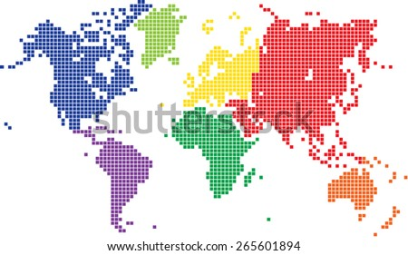Round edge multicolored square world map on white background, vector illustration. - stock vector